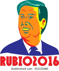 Illustration showing the bust of Marco Rubio, an American senator, politician and Republican 2016 presidential candidate done in retro style with words Rubio 2016