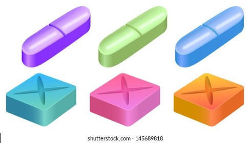 Illustration showing medicinal pills