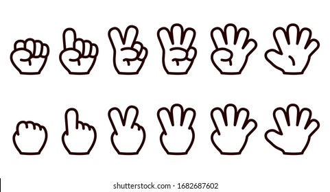 Illustration showing numbers 1 to 5 with fingers