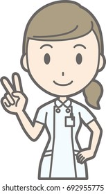 Illustration showing a peace sign by a nurse wearing a white coat