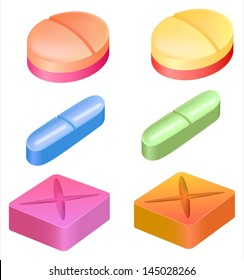 Illustration showing the shapes of medicinal pills