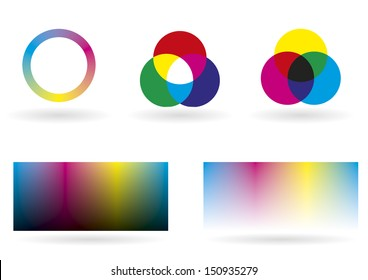 Illustration showing some charts, spectrums and graphics for color management