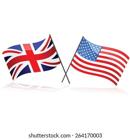 Illustration showing the Union Jack flag together with the United States flag