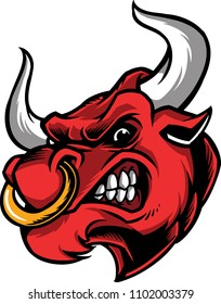 The illustration shows an angry bull face that wears a nose ring.