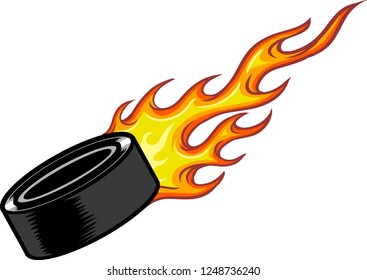 The illustration shows a black hockey puck. The yellow-red flame expresses the puck's speed.