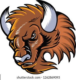 The illustration shows a buffalo head. The wild animal has white horns, a brown fur color and an angry face.