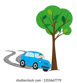 The illustration shows a car accident on the road.