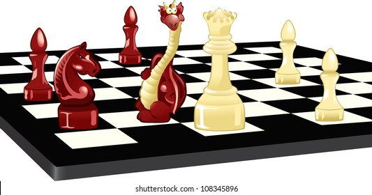 The illustration shows a chess board. On it are chess pieces and the Dragon. Illustration done in cartoon style, on separate layers.