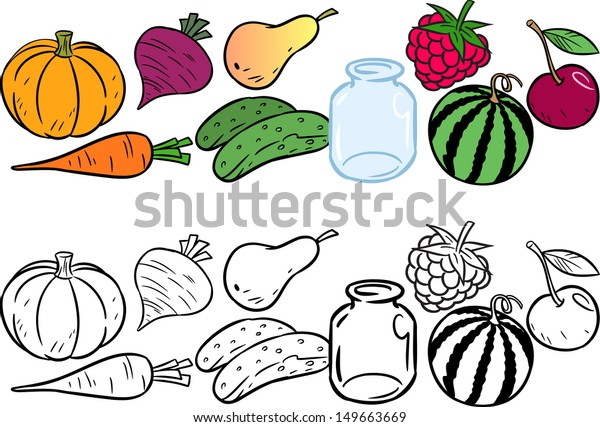 Coloring Fruits And Vegetables