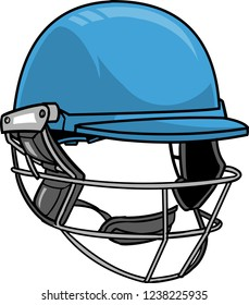 The illustration shows a cricket  helmet. The helmet is blue and it looks like a mask to protect the top, sides and back of the head of the cricket player.