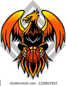 The illustration shows an emblem that has a phoenix represented on it. It refers to sport because the Firebird holds a basketball between its paws.