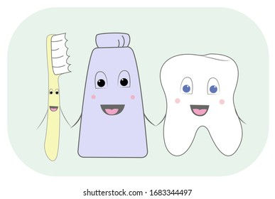 The illustration shows a friendly tooth, toothpaste and toothbrush. The illustration is made in cute children's colors. You can use it in dentistry anyway.