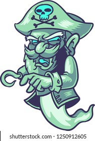 The illustration shows a ghost pirate that is looking for adventures. The ghost has a hook hand, he wears a pirate hat, a white shirt and a black coat.