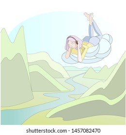 The illustration shows a girl in headphones, hovering on a cloud over the mountains. She feels joy, bliss, inspiration, inner harmony.