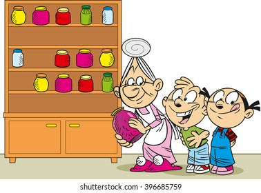 The illustration shows grandmother in an apron, she is puts in the cupboard canned goods and jam for the grandchildren
