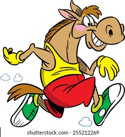 The illustration shows the horse, which deals sports running. Illustration done in cartoon style isolated on white background.