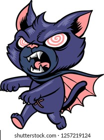 The illustration shows a mad vampire cat that has sharp fangs and claws and  wears a blue mantle.