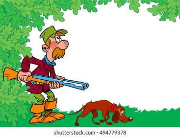 The illustration shows a male hunter with a shotgun and a dog on the background of foliage in a cartoon style, there is a place for text