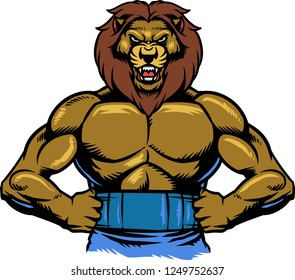 The illustration shows a muscular Lion. His body is covered with muscles and he has fangs. The wild animal looks angry and full of power.