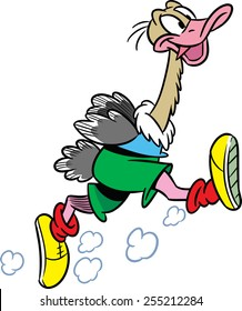 The illustration shows the ostrich, which deals sports running. Illustration done in cartoon style isolated on white background.