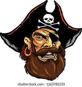 The illustration shows a pirate man with a big beard. He's wearing a huge black hat with a skull on it, he has an eye patch and he's wearing an earring.