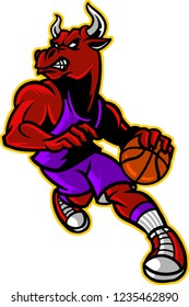The illustration shows a red bull that's playing basketball. He has big horns and he looks aggressive and angry. The bull is wearing a uniform and he's trying to score a goal.