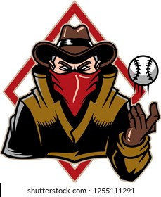 The illustration shows a renegade that's wearing a brown cowboy hat, a long coat, his face is covered with a red bandanna and he's ready to throw a baseball.