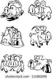 The illustration shows the representatives of the zodiac sign on the eastern calendar in the Year of the Pig. illustrations done in cartoon style, black and white outline and on separate layers.