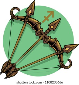The illustration shows The Sagittarius zodiac sign, represented by a bow and three arrows.