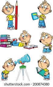 The illustration shows a set of positions schoolboy and school subjects. Illustration done in cartoon style isolated on white background, on separate layers.
