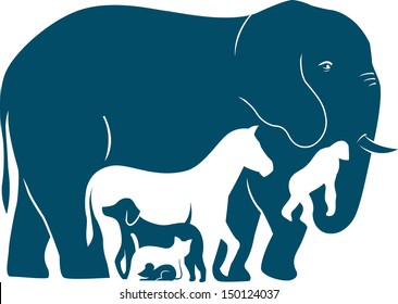 The illustration shows several mammal species as they increase in weight. Illustration done in the style silhouette