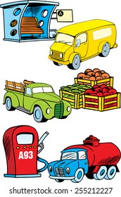 The illustration shows several modes of transport, namely, bus, truck and construction machinery. Illustration done on separate layers, in a cartoon style isolated on white background.