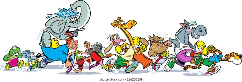 The illustration shows some species of animals and man who compete, who faster runs. Illustration done in cartoon style, on separate layers, the horizontal.