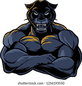 The illustration shows a strong and angry panther. The wild animal has huge muscles.