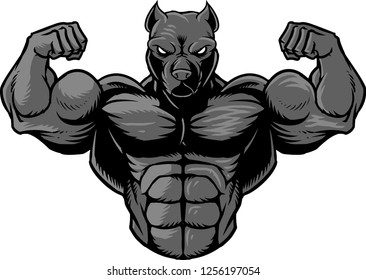The illustration shows a strong Pit Bull that's showing off his muscles.