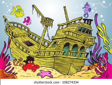 The illustration shows a sunken ancient ship. On lies on the ocean floor, around the swimming fish and seaweed