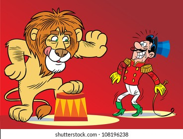 The illustration shows the tamer and the lion performing the trick.