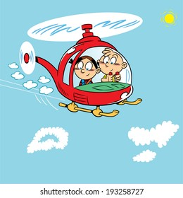 The illustration shows two children playing. Boy and girl flying in a helicopter on a background of blue sky with clouds. Illustration on separate layers, in a cartoon style.