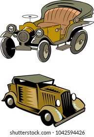 The illustration shows two models of cartoon retro cars, isolated on a white background