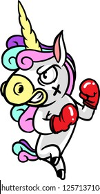 The illustration shows a unicorn boxer. He wears red boxing gloves and he looks very angry.