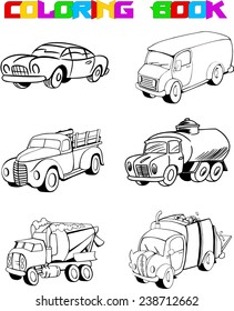The illustration shows variety cartoon of machines for coloring. Illustration made a black outline, on separate layers, isolated on white background.