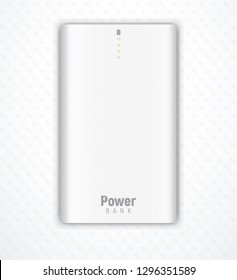 Illustration shows vector realistic white powerbank lies on white background. Four orange little lamps indicate about full charge.