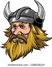 The illustration shows a viking warrior that has a long beard and wears a helmet with horns.