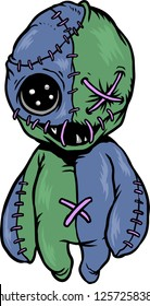 The illustration shows a Voodoo doll that has just one eye and a lot of stitches.