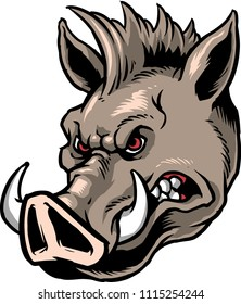 The illustration shows a wild boar head with sharp fangs.