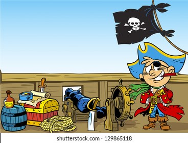 The illustration shows a young boy who plays the pirate. Illustration done in cartoon style.