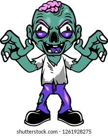 The illustration shows a zombie man that looks creepy. He has a damaged cranium and he's spreading the fear around.