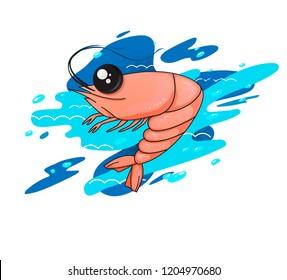 illustration with shrimp. cartoon shrimp on a stylized background. shrimp in the ocean