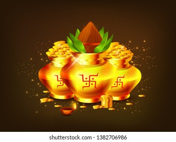 Illustration Of Shubh Akshaya Tritiya Greeting Card Background With Golden shine coin pot (Kalash).