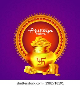 Illustration Of Shubh Akshaya Tritiya Greeting Card Background With Golden shine pot (Kalash).